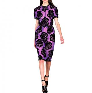 Christopher Kane Violet Flocked Rose Dress