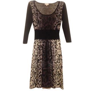 Temperley London Leopard Print Wool Dress