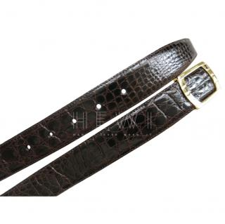 A.Testoni Crocodile Leather Belt