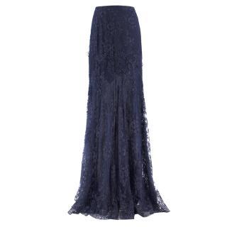 Erdem Navy Lace Maxi Skirt