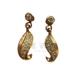 Christian Dior Vintage Leaf Drop Earrings