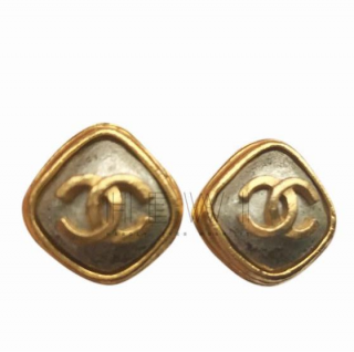 Chanel Vintage Gold & Silver CC Earrings