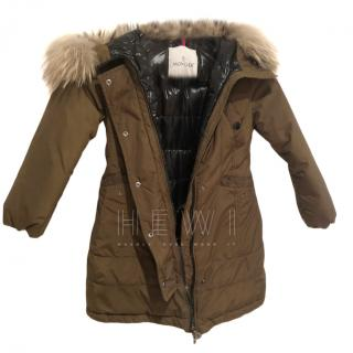 Moncler girls padded down khaki jacket
