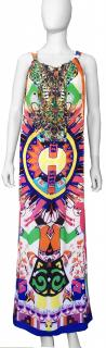 Camilla Aztec Print Maxi Silk Dress