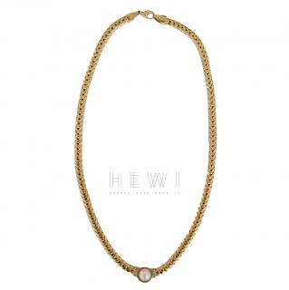 Bespoke Vintage 14kt Gold Pearl and Diamonds Pendant Necklace