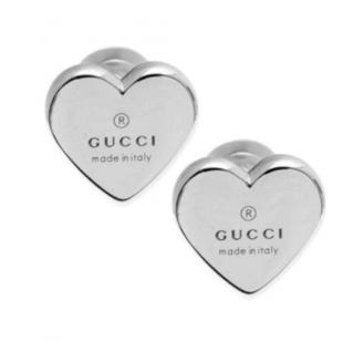 Gucci Silver Trademark Heart Stud Earrings