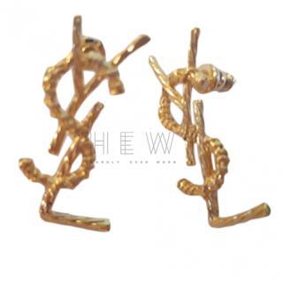 Saint Laurent Gold Monogram Earrings
