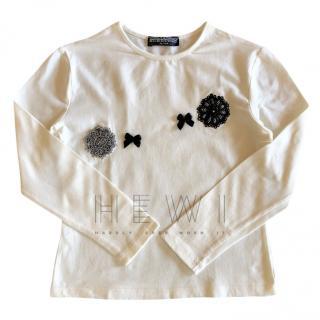 Ermanno Scervino Girl's White Top W/ Lace Applique