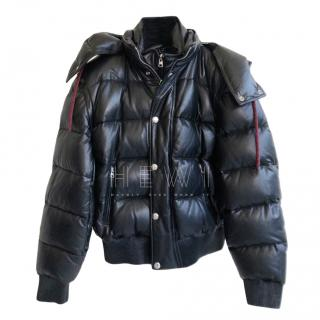 Alexander McQueen Men's Black Leather Puffer Jacket