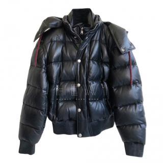 Alexander McQueen Men's Black Leather Puffer Jacket