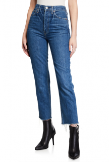 Trave Harper High-Rise Frayed Stovepipe Jeans