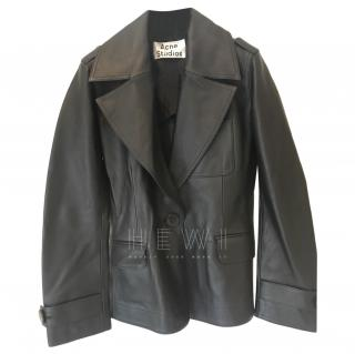 Acne Black Leather Tailored Jacket