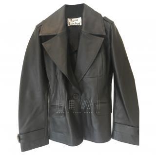 Acne Black Leather Tailored Jacket