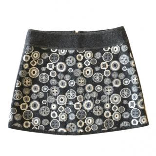 I Pinco Pallino Embroidered Grey Felt Skirt