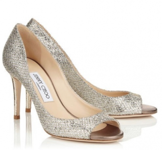 Jimmy Choo Evelyn 85 Champagne Pumps