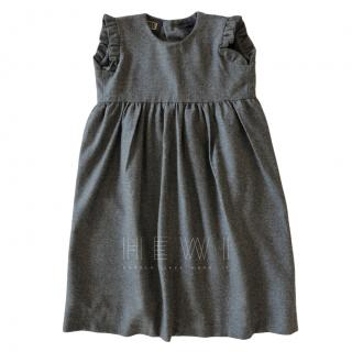 Willy Miani Girl's Grey Flannel Pleated Dress