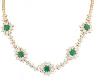 Bespoke Yellow Gold Diamond and Emerald Necklace