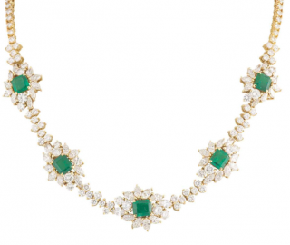 Bespoke Yellow Gold Diamond and Emerald Necklace
