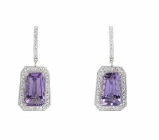 Bespoke White Gold Diamond & Amethyst Drop Earrings