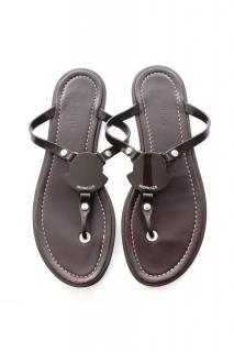 Moncler Brown Flat Logo Sandals