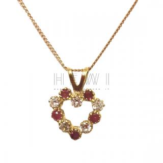 Bepsoke Ruby & White Sapphire Heart Pendant Necklace