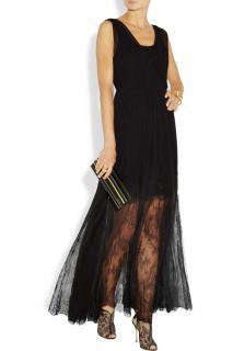 Alice + Olivia Black Silk Chiffon Semi Sheer Lace Gown