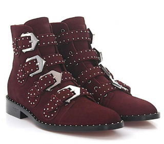 Givenchy Burgundy Studded Suede Ankle Boots in Rouge Oxblood