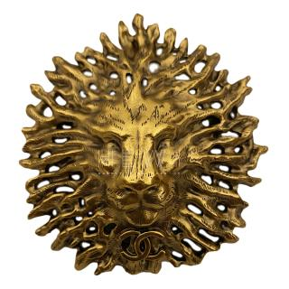 Chanel Limited Edition Gold Lion Head Brooch