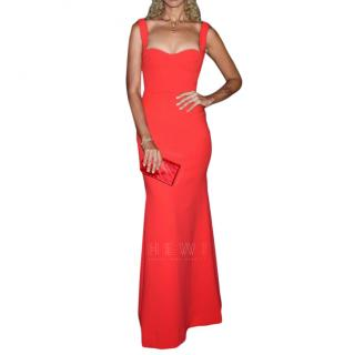 Victoria Beckham Red Fitted Sleeveless Gown
