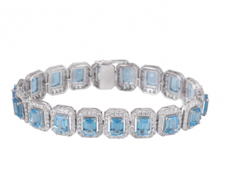 Bespoke White Gold Topaz & Diamond Bracelet