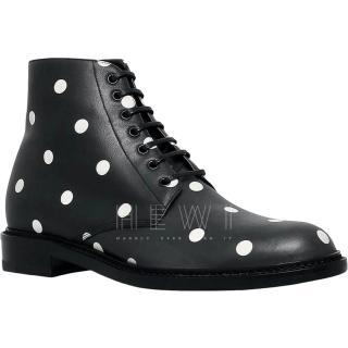 Saint Laurent Lolita 20 Polka-Dot Ankle Boots