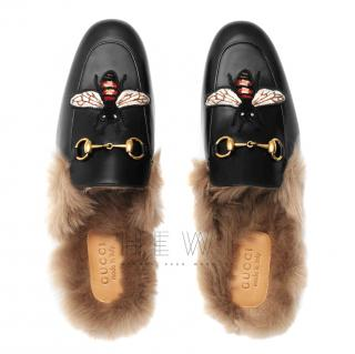 Gucci Princetown Fur Lined Bee Embroidered Slipper