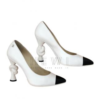 Chanel White Cap-Toe Knot Heel Pumps