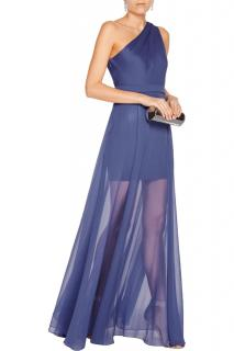 Halton Heritage Indigo One Shoulder Semi Sheer Gown