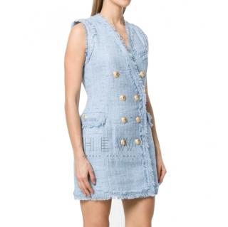 Balmain Pale Blue Tweed Sleeveless Dress