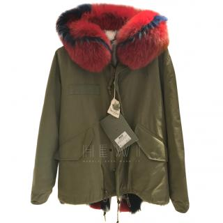 Mr & Mrs Italy Khaki Mini Fur Lined Parka