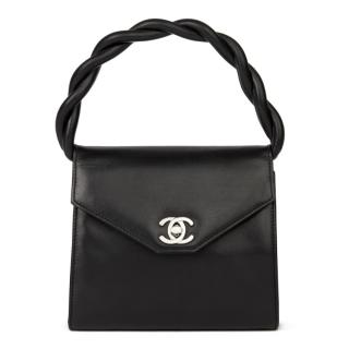 Chanel Vintage Black Leather Mini Kelly Top Handle Bag