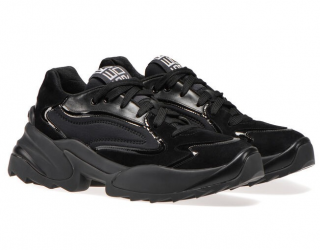 Sergio Rossi Black Leather Panelled Trainers