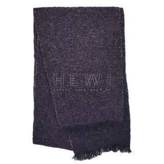 Chanel Purple Tweed Knit Scarf