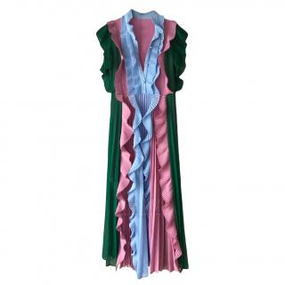 Gamze Saracoglu Pleated Colour-Block Dress