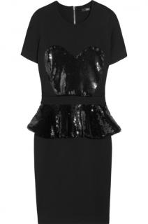 Markus Lupfer Black Sequin-embellished Jersey Mini Dress