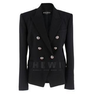 Balmain Black Textured Double Breasted Jacket