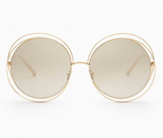 Chloe Carlina Round Sunglasses In 18k Gold Plated Metal