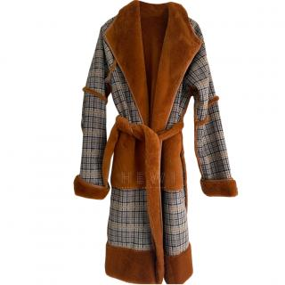 Kitri Reversible Faux Fur Check Wrap Coat