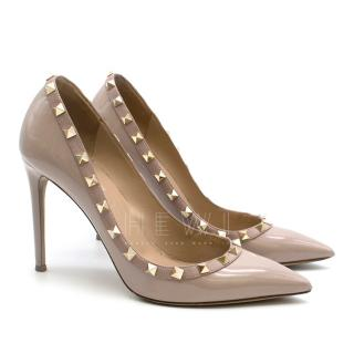 Valentino Poudre Rockstud Patent Leather Pumps