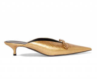 Balenciaga gold textured-leather knife mules