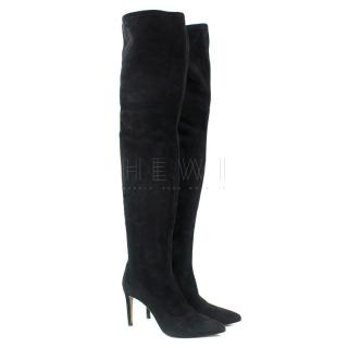 Sergio Rossi Black Over the Knee Heeled Boots
