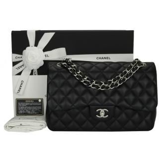 Chanel Black Quilted Leather Jumbo Flap Bag