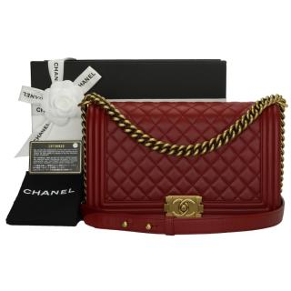 Chanel Red Quilted Leather New Medium Le Boy