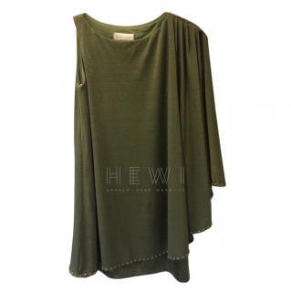 Mikael Aghal One Shoulder Khaki Dress